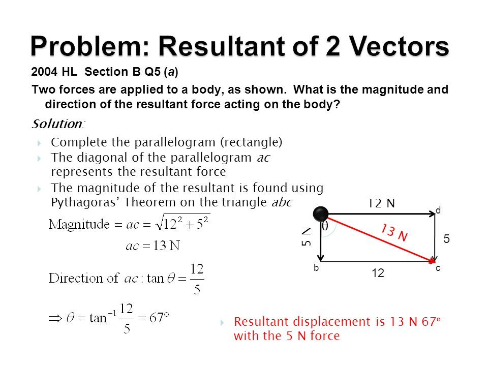 Problem: Resultant of 2 Vectors