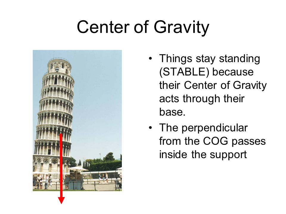 Center of Gravity Things stay standing (STABLE) because their Center of Gravity acts through their base.