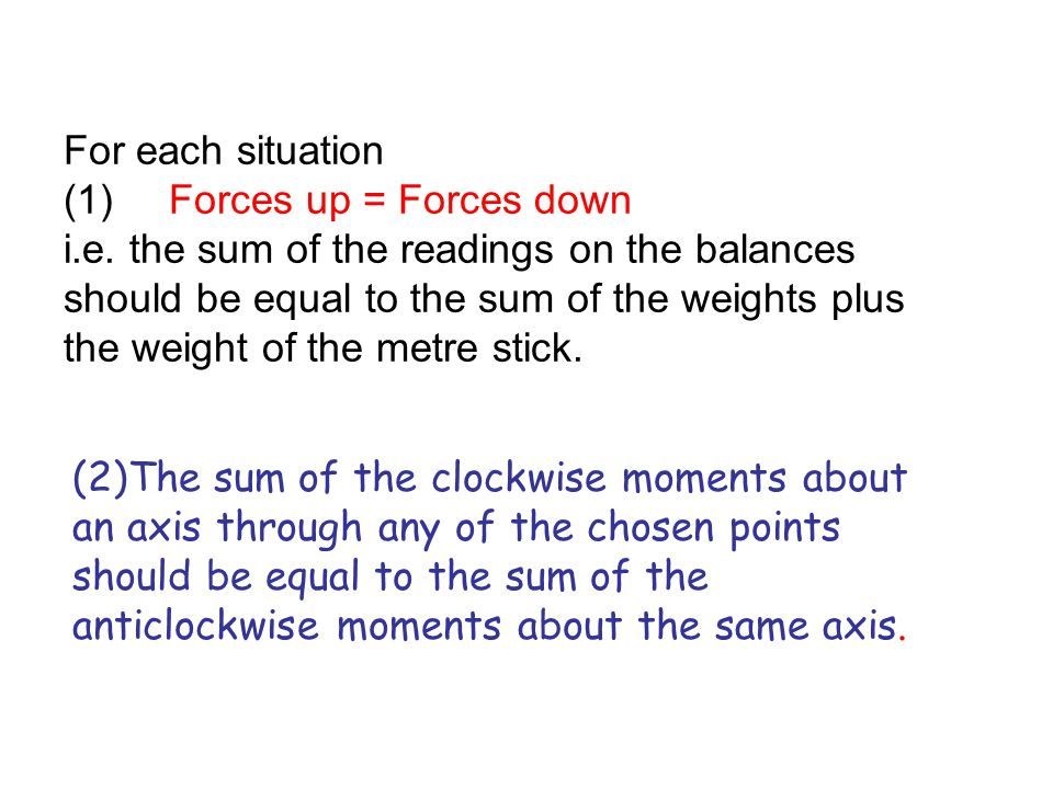 For each situation (1). Forces up = Forces down i. e