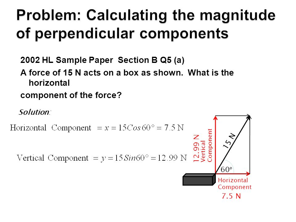 Problem: Calculating the magnitude of perpendicular components