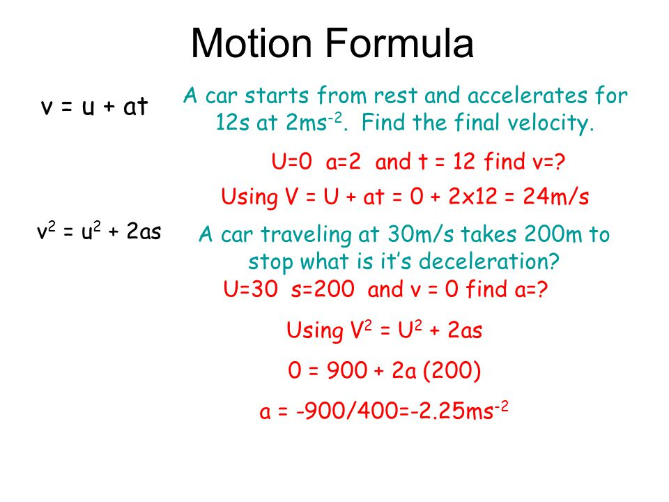 A car traveling at 30m/s takes 200m to stop what is it's deceleration