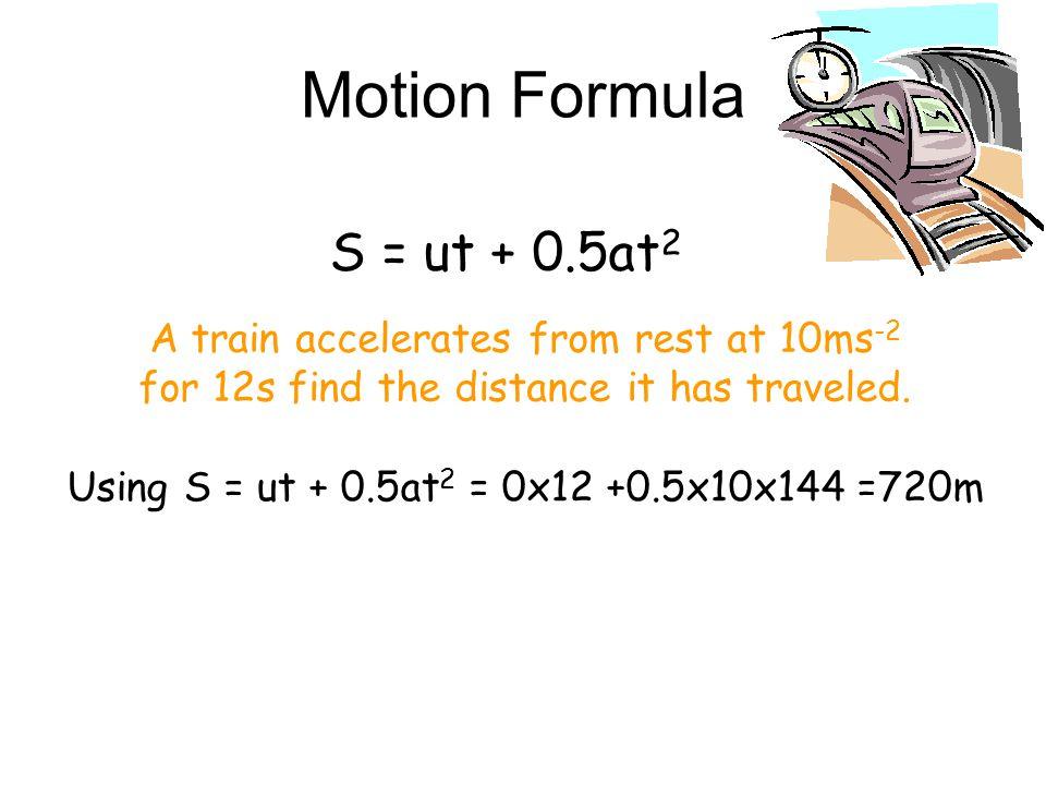 Motion Formula S = ut + 0.5at2