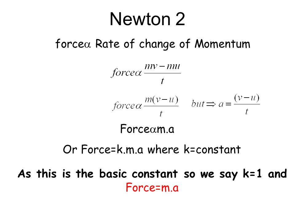 As this is the basic constant so we say k=1 and Force=m.a
