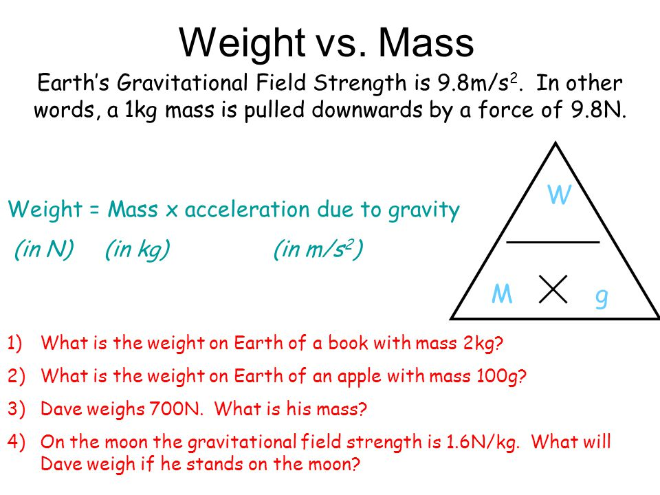 Weight vs. Mass Earth's Gravitational Field Strength is 9.8m/s2. In other words, a 1kg mass is pulled downwards by a force of 9.8N.