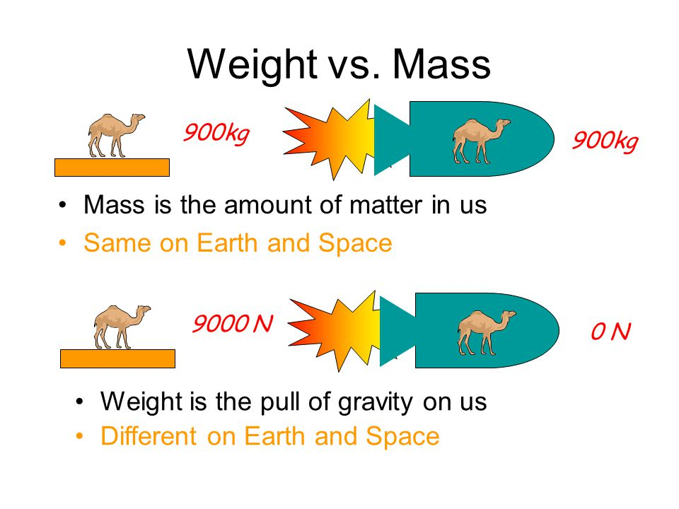 Weight vs. Mass Mass is the amount of matter in us