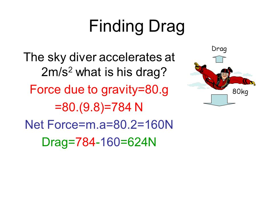 The sky diver accelerates at 2m/s2 what is his drag