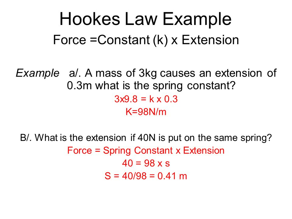 Hookes Law Example Force =Constant (k) x Extension