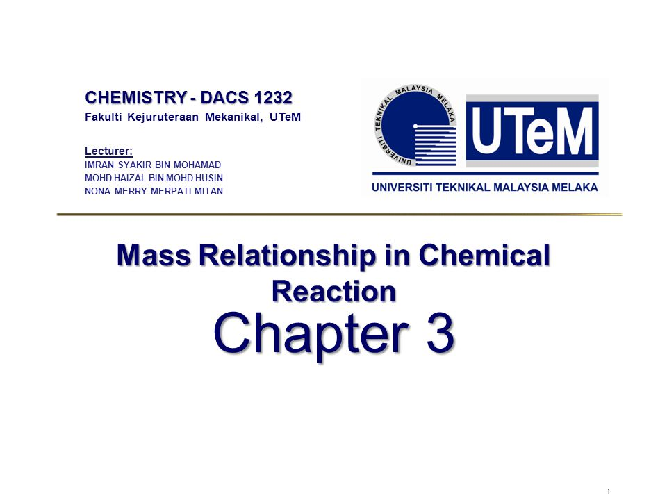 Mass Relationship in Chemical Reaction