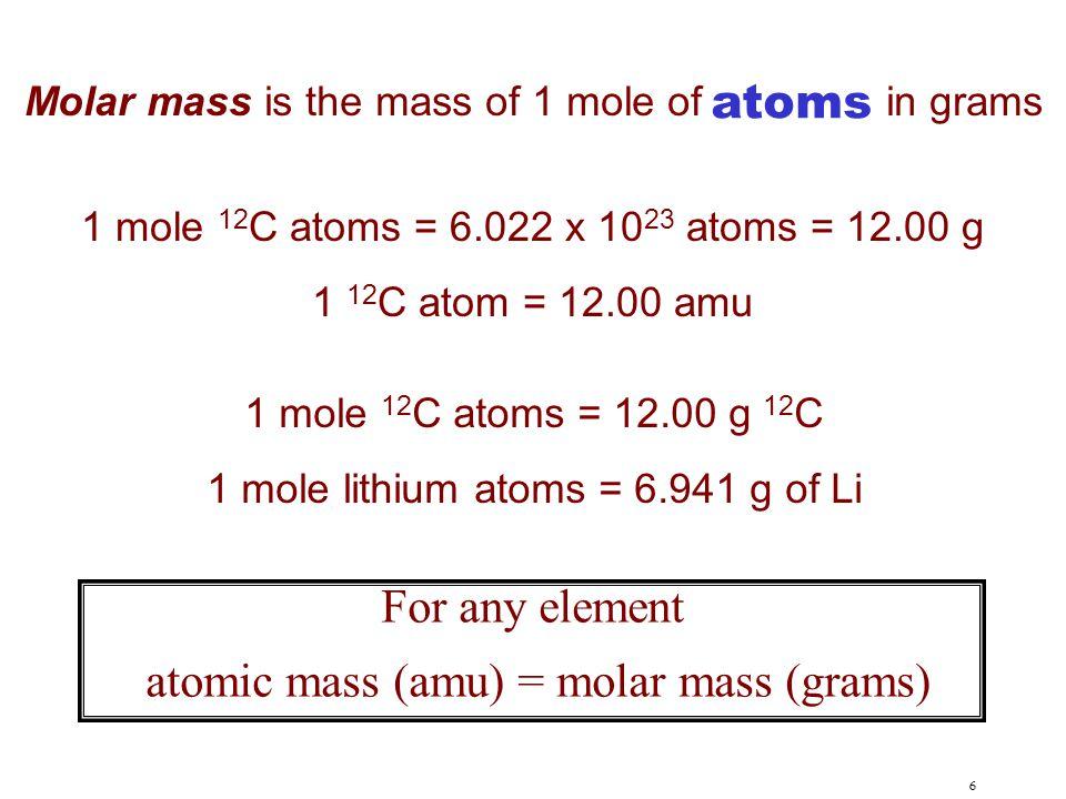 atomic mass (amu) = molar mass (grams)