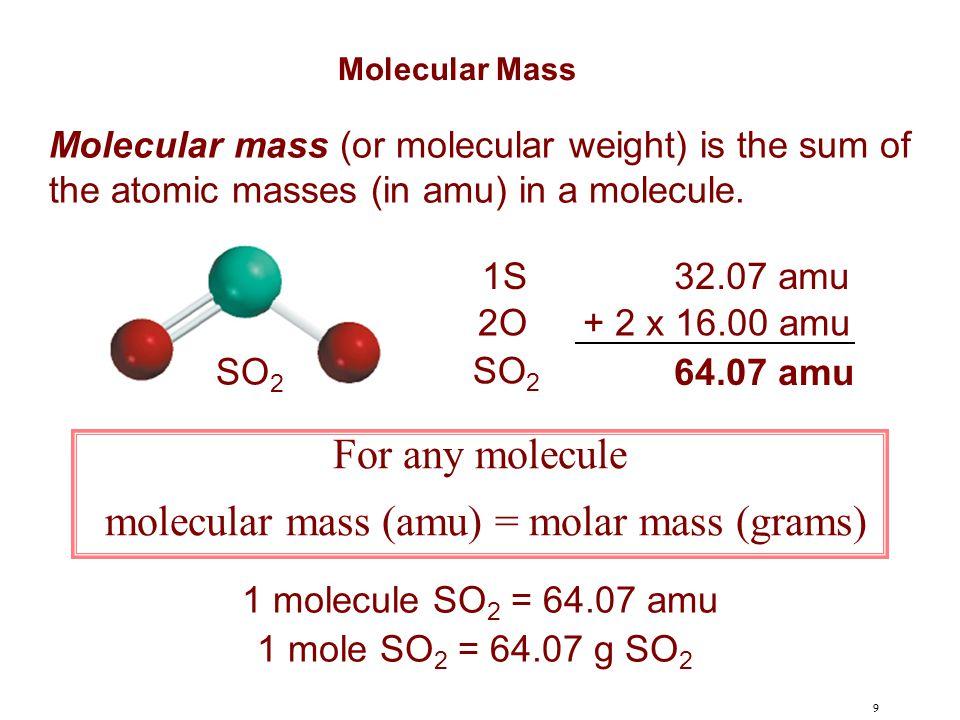 molecular mass (amu) = molar mass (grams)