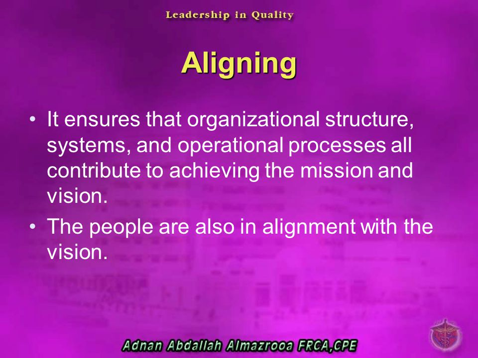 Aligning It ensures that organizational structure, systems, and operational processes all contribute to achieving the mission and vision.
