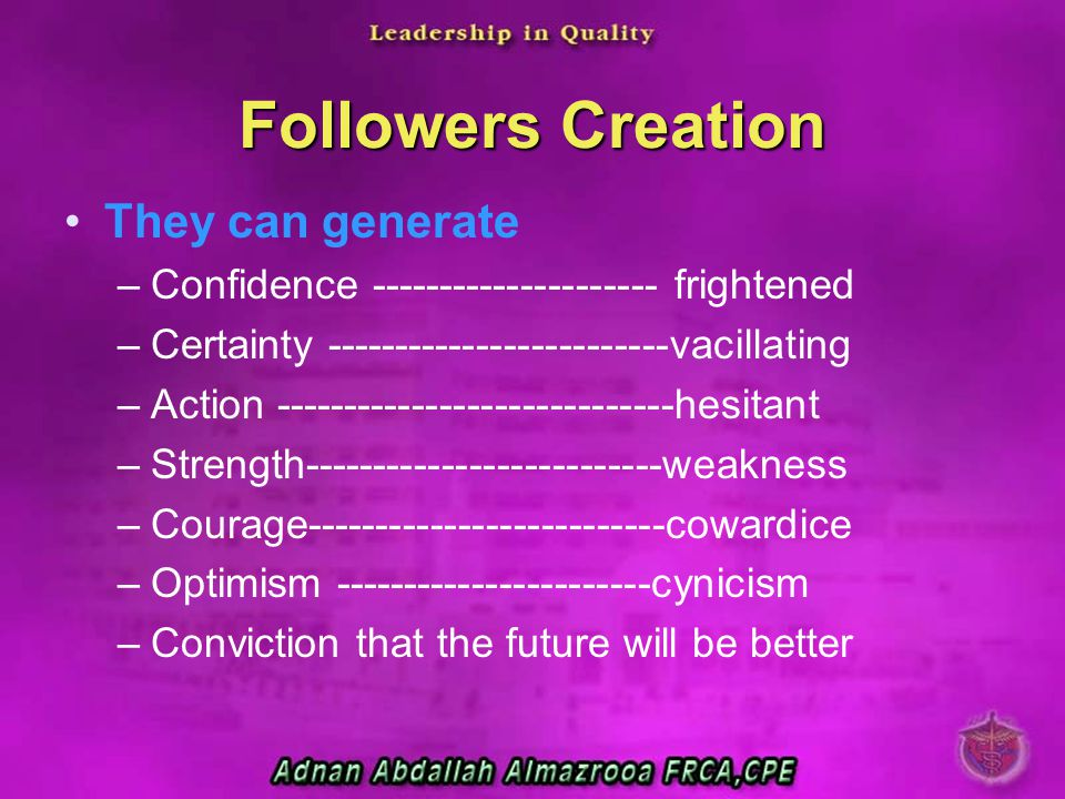Followers Creation They can generate