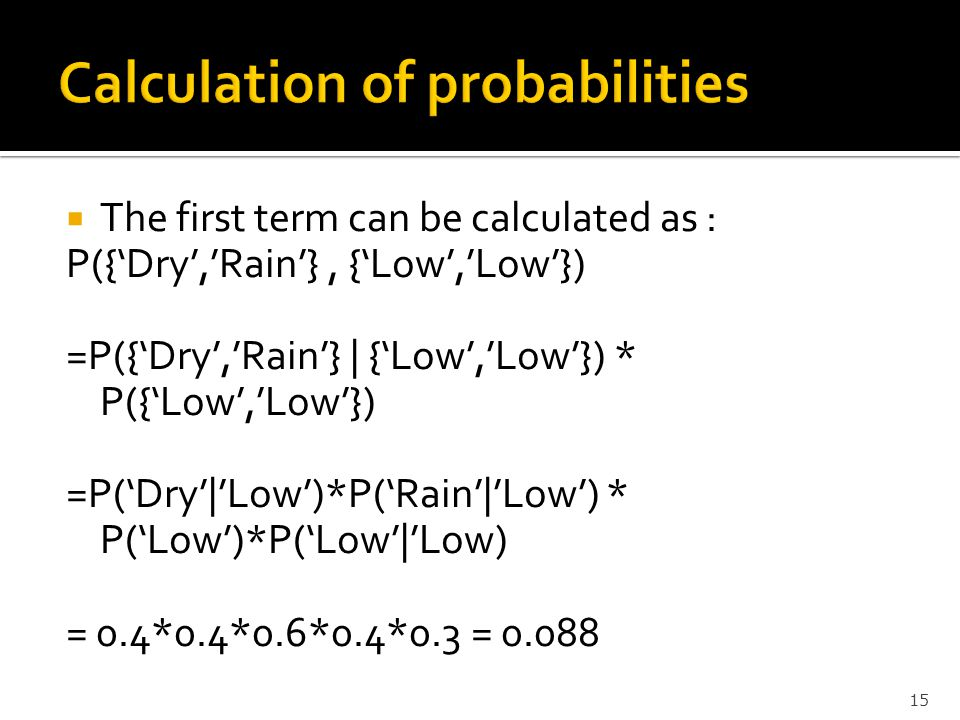 Calculation of probabilities