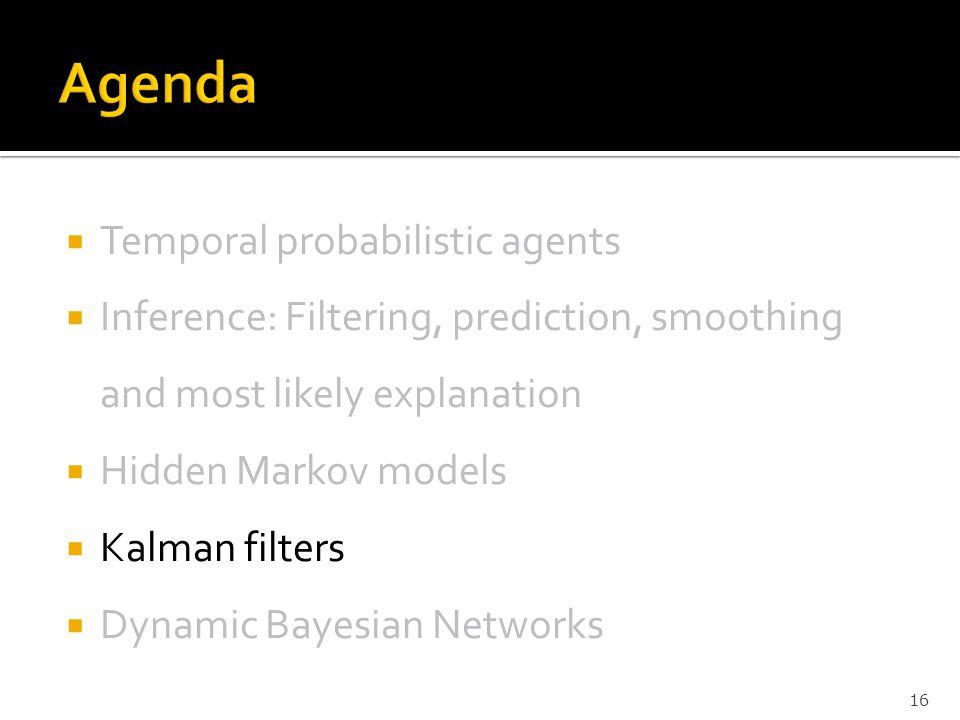 Agenda Temporal probabilistic agents