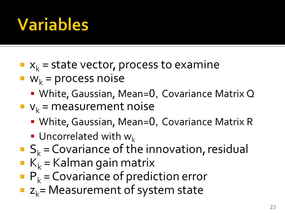 Variables xk = state vector, process to examine wk = process noise