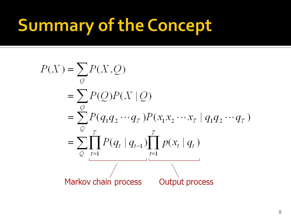 Summary of the Concept Markov chain process Output process