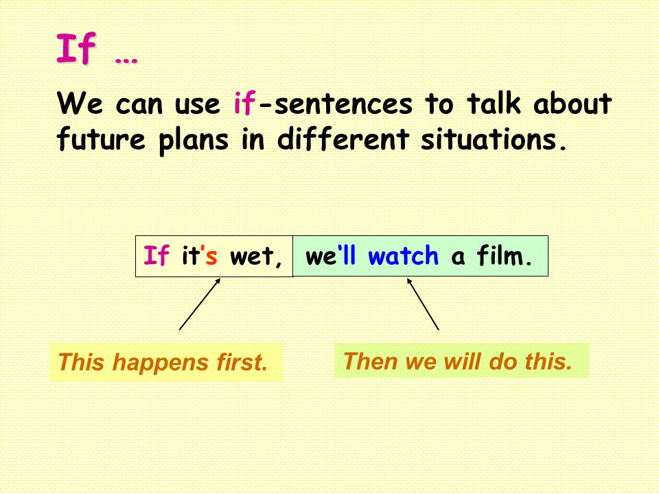 If … We can use if-sentences to talk about future plans in different situations. If it's wet, we'll watch a film.
