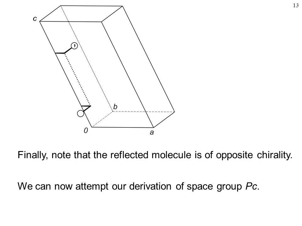 Finally, note that the reflected molecule is of opposite chirality.