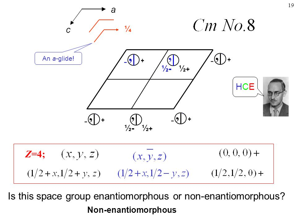 a ¼. An a-glide! c. ½+ ½- , ½- , ½+ + - , - + HCE. Z=4; Is this space group enantiomorphous or non-enantiomorphous
