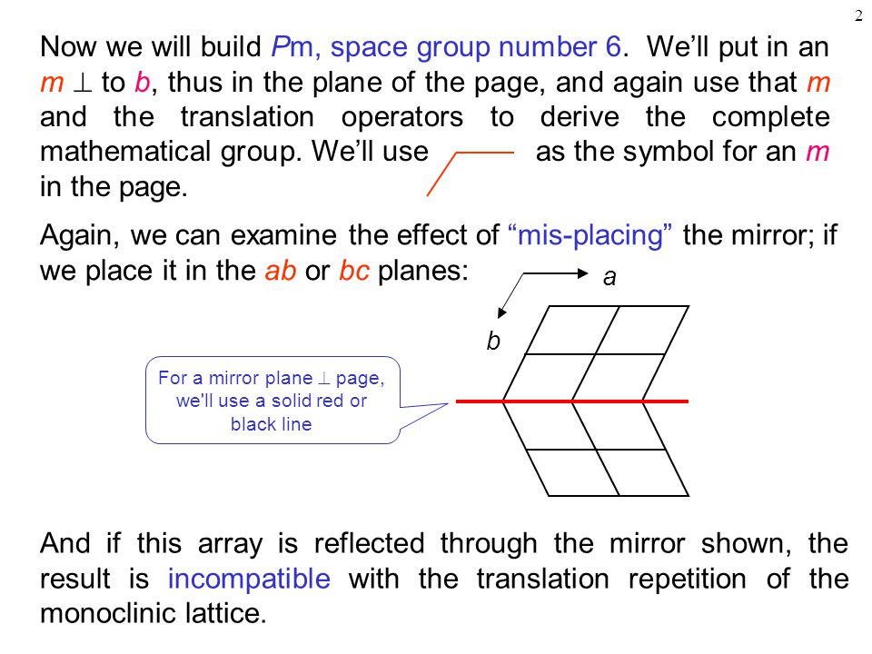 For a mirror plane  page, we ll use a solid red or black line