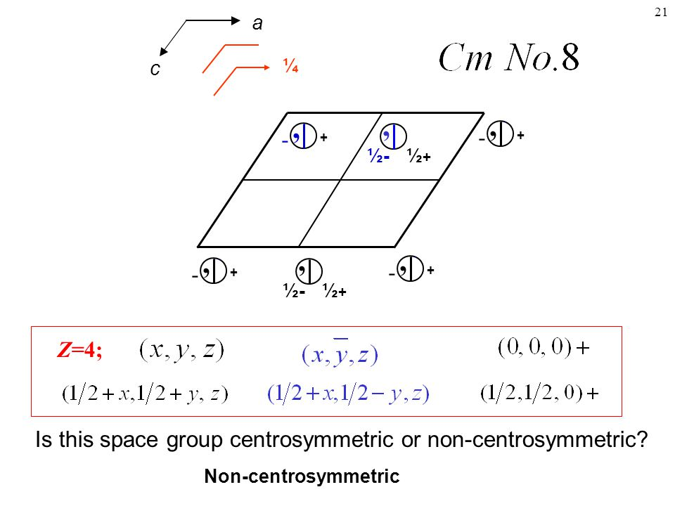 a ¼. c. + , - ½+ ½- , + , - + , - ½- , ½+ + , - Z=4; Is this space group centrosymmetric or non-centrosymmetric