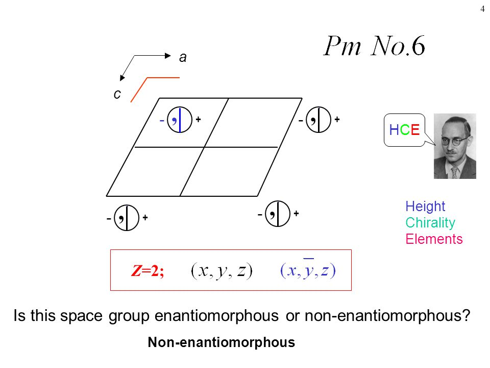 a c. + , - , - + HCE. Height. Chirality. Elements. Z=2; Is this space group enantiomorphous or non-enantiomorphous