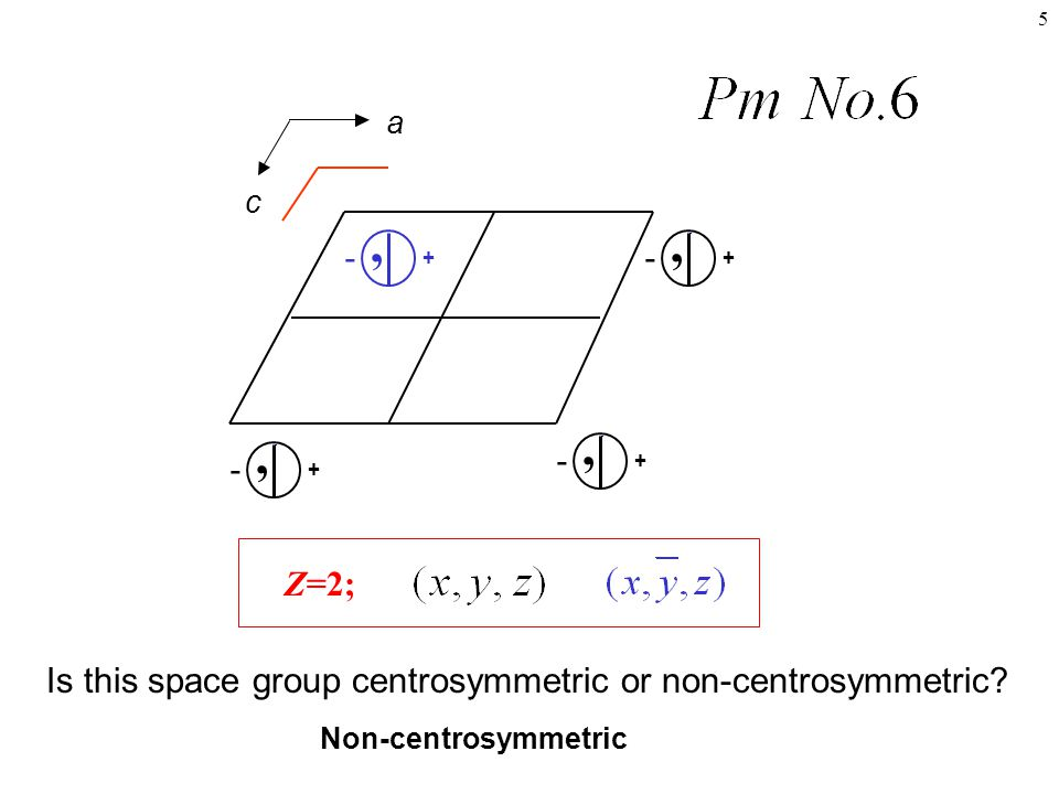 a c. + , - + , - + , - + , - Z=2; Is this space group centrosymmetric or non-centrosymmetric