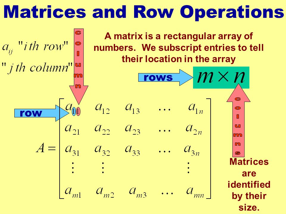 Matrices are identified by their size.