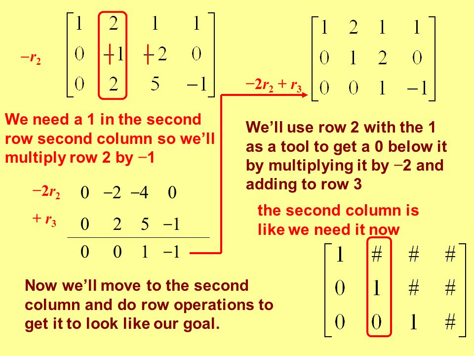 r2 −2r2 + r3. We need a 1 in the second row second column so we'll multiply row 2 by −1.