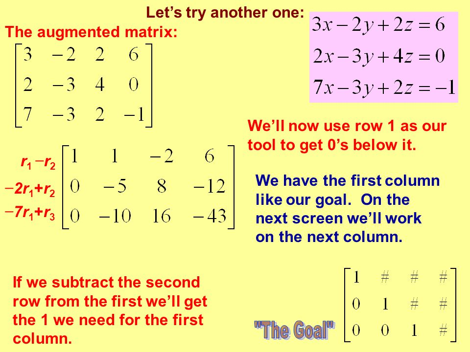 The Goal Let's try another one: The augmented matrix: