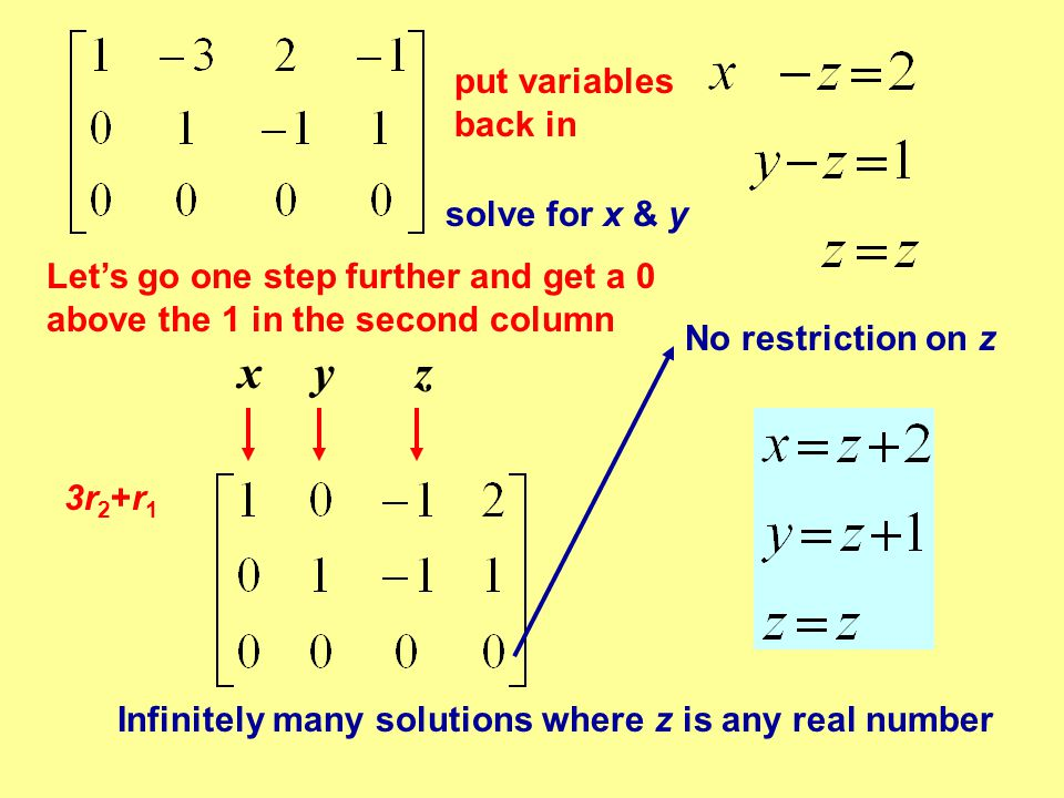 x y z put variables back in solve for x & y