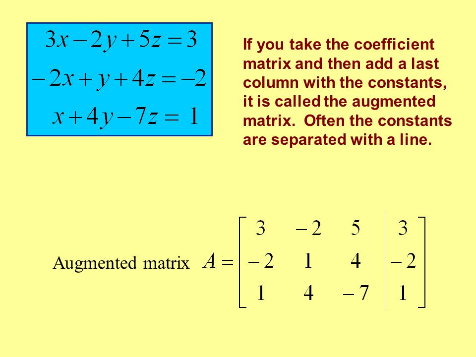 If you take the coefficient matrix and then add a last column with the constants, it is called the augmented matrix. Often the constants are separated with a line.