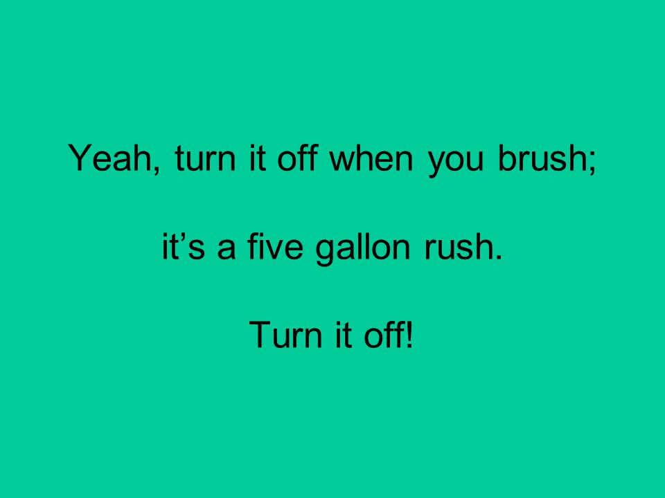 Yeah, turn it off when you brush; it's a five gallon rush. Turn it off!