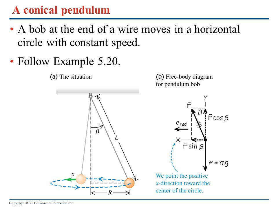 A conical pendulum A bob at the end of a wire moves in a horizontal circle with constant speed.