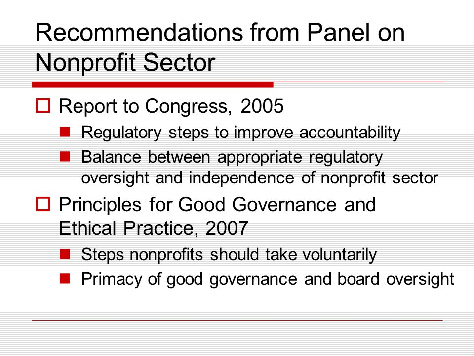 Recommendations from Panel on Nonprofit Sector
