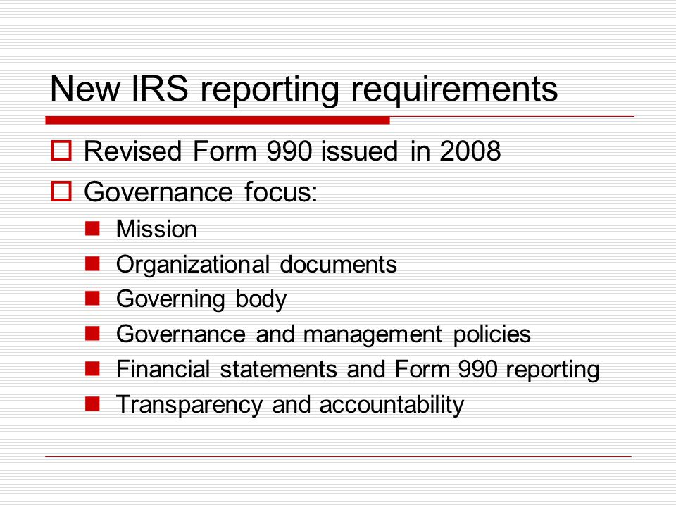 New IRS reporting requirements