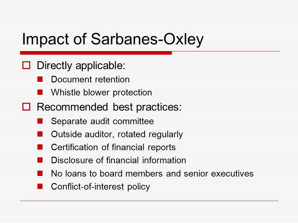 Impact of Sarbanes-Oxley
