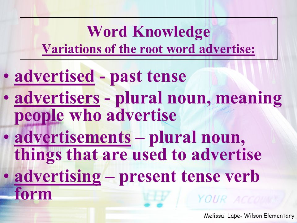 Word Knowledge Variations of the root word advertise: