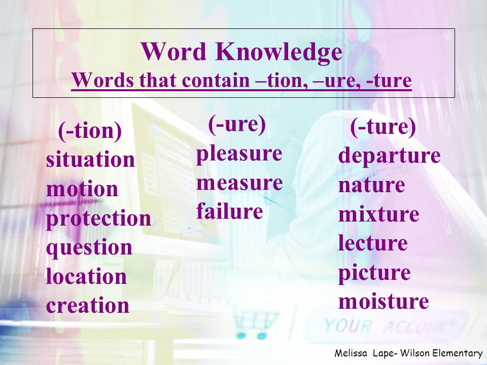 Word Knowledge Words that contain –tion, –ure, -ture