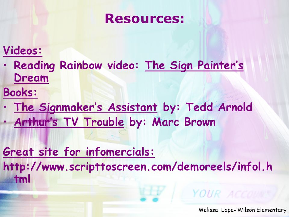 Resources: Videos: Reading Rainbow video: The Sign Painter's Dream