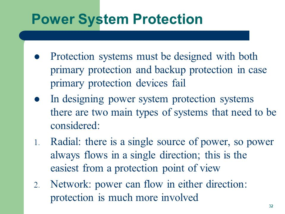 Radial Power System Protection