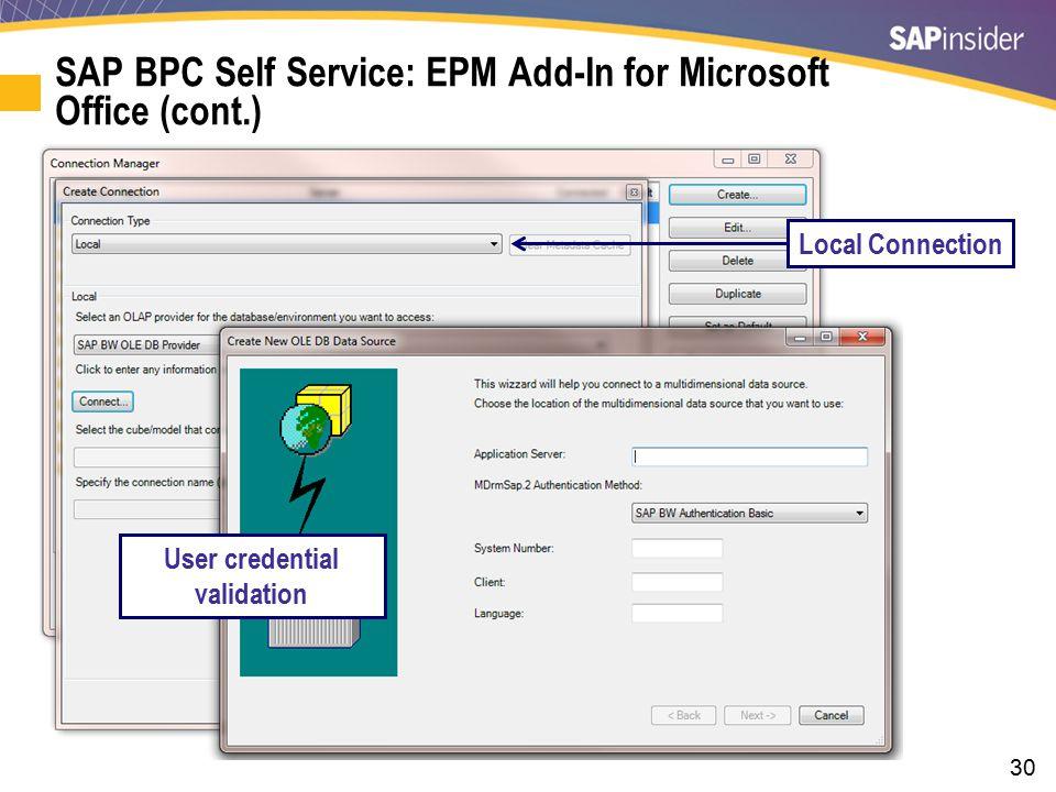 SAP BPC Self Service: EPM Add-In for Microsoft Office (cont.)