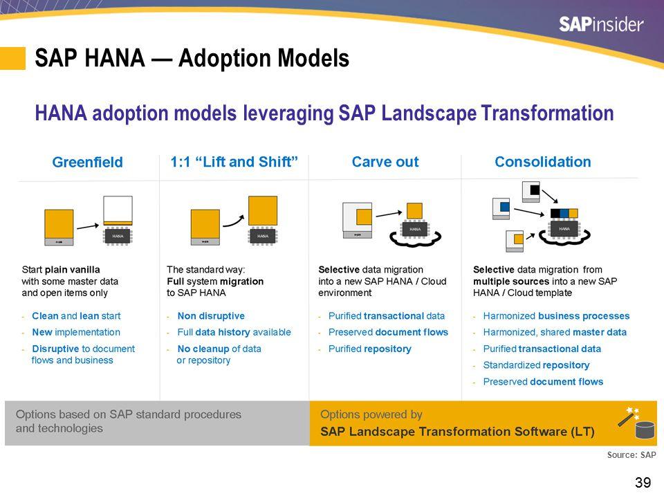 SAP HANA — Adoption Models (cont.)