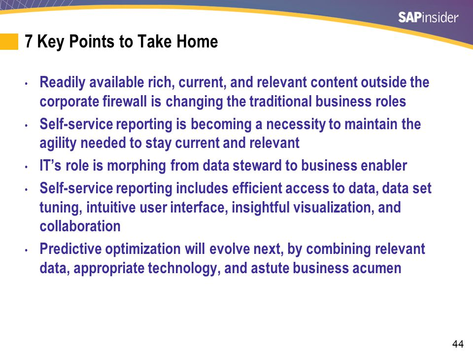 7 Key Points to Take Home (cont.)
