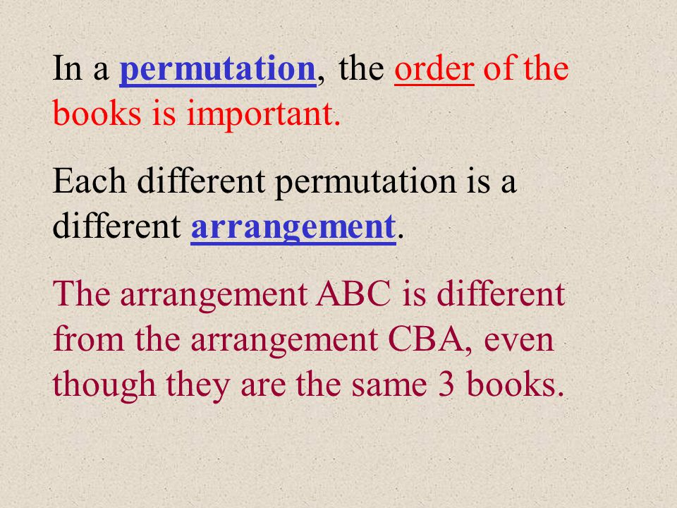 In a permutation, the order of the books is important.