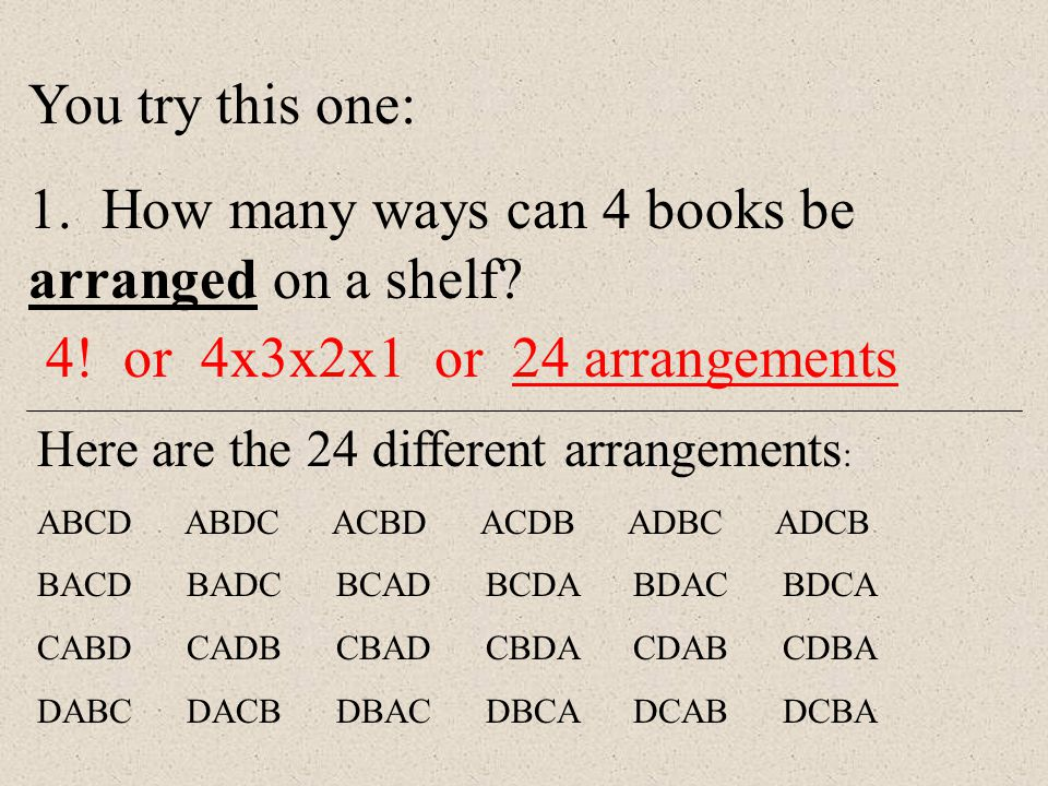 1. How many ways can 4 books be arranged on a shelf