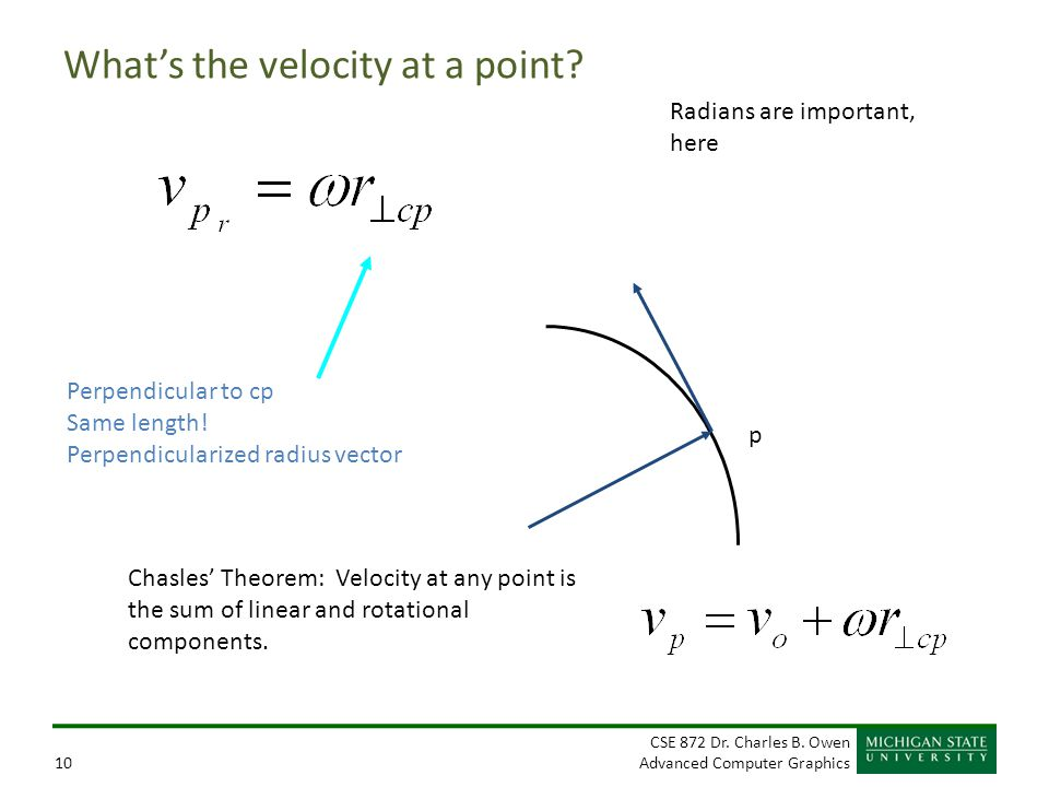 What's the velocity at a point