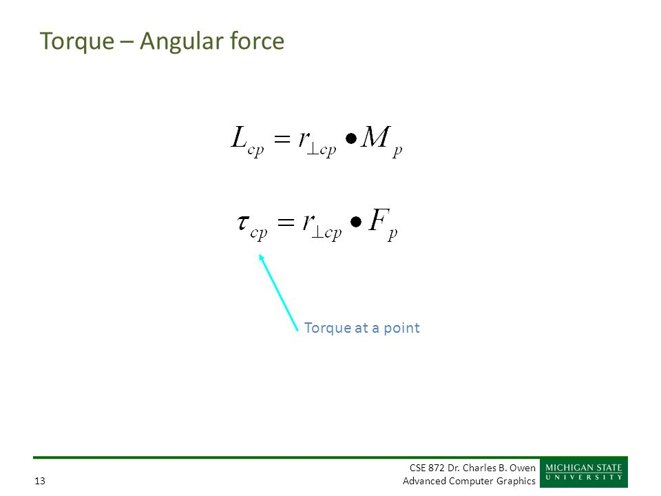 Torque – Angular force Torque at a point