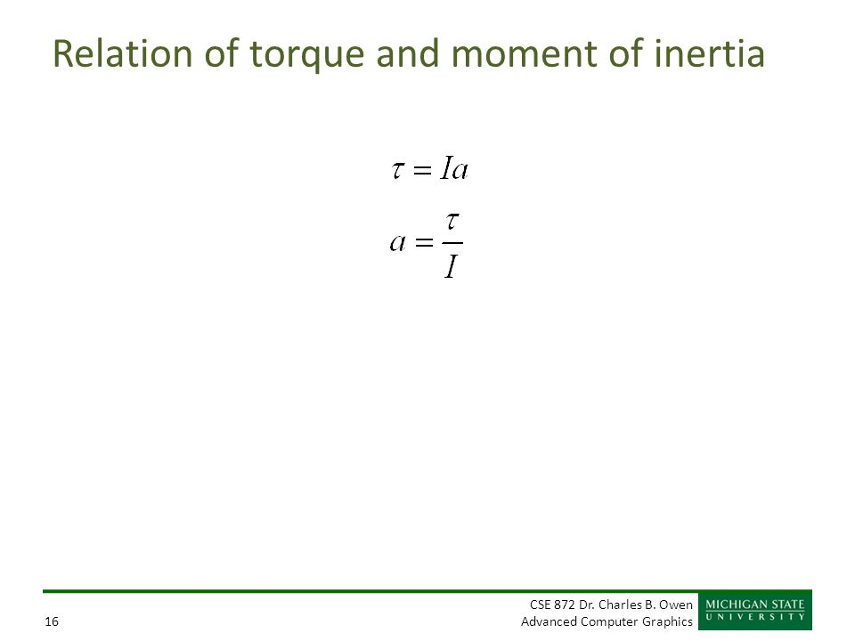 Relation of torque and moment of inertia