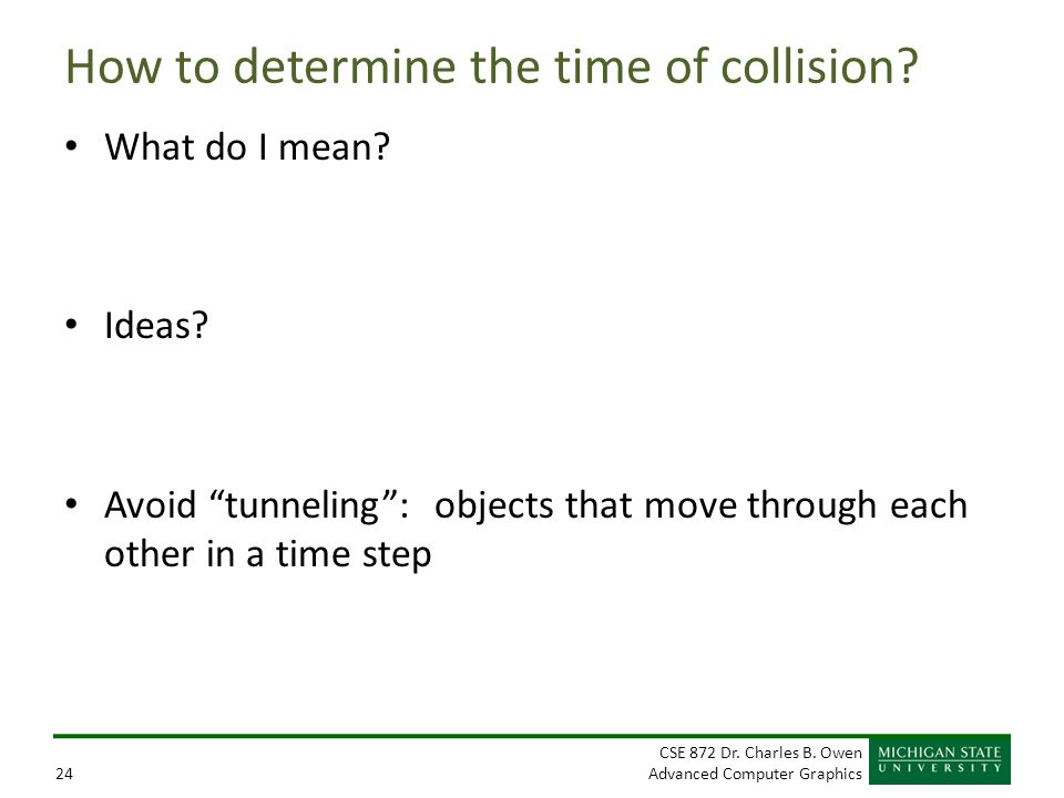 How to determine the time of collision